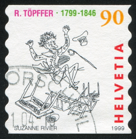 SWITZERLAND - CIRCA 1999: stamp printed by Switzerland, shows Vieux Bois in air after knocking over furniture, circa 1999