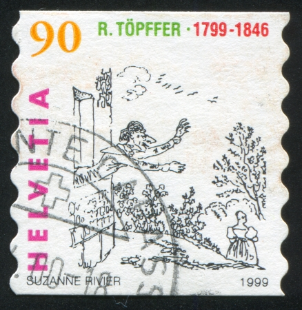 bois: SWITZERLAND - CIRCA 1999: stamp printed by Switzerland, shows Vieux Bois waving out in window, circa 1999