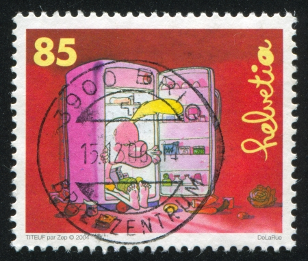 SWITZERLAND - CIRCA 2004: stamp printed by Switzerland, shows Titeuf sitting in refrigerator by Zep, circa 2004