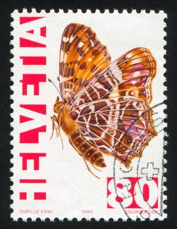 SWITZERLAND - CIRCA 1995: stamp printed by Switzerland, shows Map butterfly, circa 1995