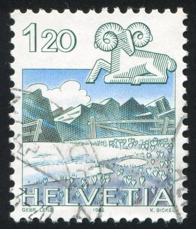 SWITZERLAND - CIRCA 1982: stamp printed by Switzerland, shows Aries, Graustock, circa 1982 Stock Photo - 17437432