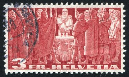 pacto: SUIZA - alrededor de 1938: sello impreso por Suiza, muestra Pacto de First Federal, alrededor del a�o 1938