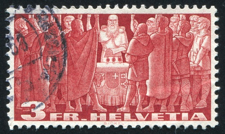 SWITZERLAND - CIRCA 1938: stamp printed by Switzerland, shows First Federal Pact, circa 1938 Stock Photo - 17464596