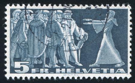 privileged: SWITZERLAND - CIRCA 1938: stamp printed by Switzerland, shows Diet of Stans, circa 1938