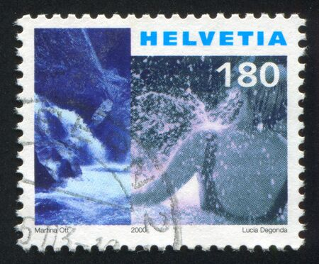 the bather: SWITZERLAND - CIRCA 2000: stamp printed by Switzerland, shows Vals hot springs, bather, circa 2000 Editorial