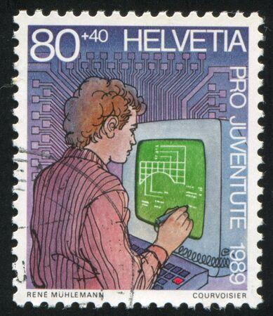 SWITZERLAND - CIRCA 1989: stamp printed by Switzerland, shows Vocational training , circa 1989 Stock Photo - 17437396