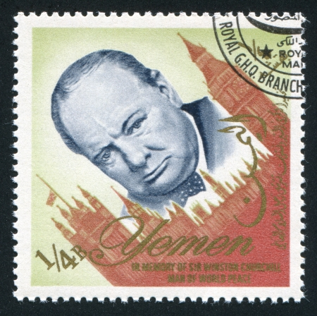 YEMEN - CIRCA 1972: stamp printed by Yemen, shows Winston Churchill, circa 1972 Stock Photo - 17464460