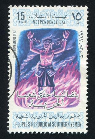 YEMEN - CIRCA 1968: stamp printed by Yemen, shows Arabian revolutionary, circa 1968 Stock Photo - 17437427