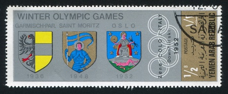 YEMEN - CIRCA 1968: stamp printed by Yemen, shows Coat of amrs of Garmish, Saint Moritz and Oslo, circa 1968