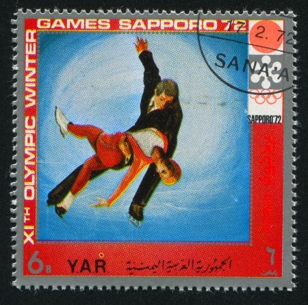 YEMEN - CIRCA 1972: stamp printed by Yemen, shows Figure Skating, circa 1972 Stock Photo - 17464455