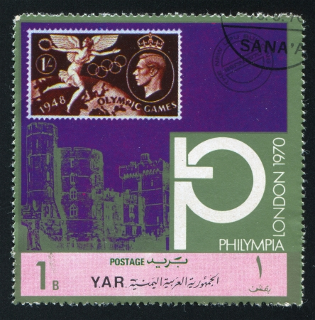 YEMEN - CIRCA 1970: stamp printed by Yemen, shows Olympic Symbols and Westminster Abbey, circa 1970