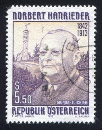 AUSTRIA - CIRCA 1992: stamp printed by Austria, shows Norbert Hanrieder, circa 1992 Stock Photo - 17809666
