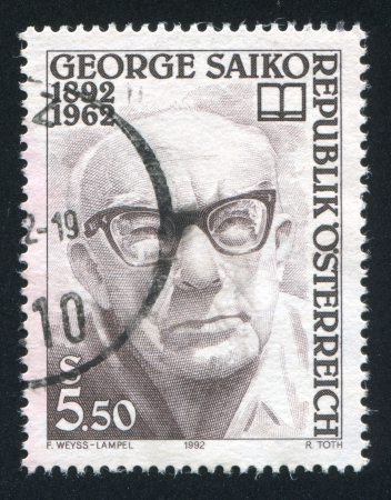 AUSTRIA - CIRCA 1992: stamp printed by Austria, shows George Saiko, circa 1992