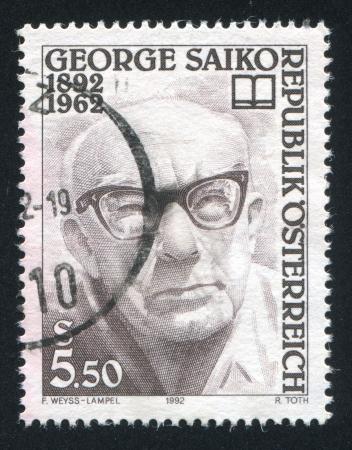 saiko: AUSTRIA - CIRCA 1992: stamp printed by Austria, shows George Saiko, circa 1992