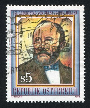 AUSTRIA - CIRCA 1992: stamp printed by Austria, shows Franz Joseph Muller von Reichenstein, circa 1992 Stock Photo - 17809704