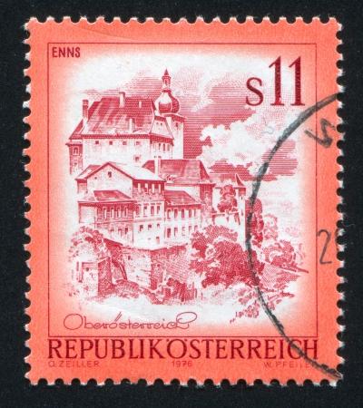 AUSTRIA - CIRCA 1976: stamp printed by Austria, shows Town Enns, buildings, circa 1976 Stock Photo - 17809711