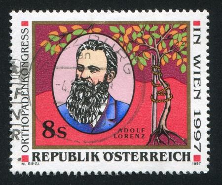 AUSTRIA - CIRCA 1997: stamp printed by Austria, shows Adolph Lorenz, circa 1997 Stock Photo - 17837745