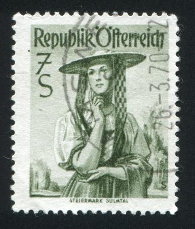 AUSTRIA - CIRCA 1948: stamp printed by Austria, shows Austrian costume in Steiermark, Sulm Valley, circa 1948 Stock Photo - 17809669