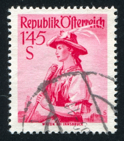 AUSTRIA - CIRCA 1948: stamp printed by Austria, shows Austrian costume in Wilten, circa 1948 Stock Photo - 17837770