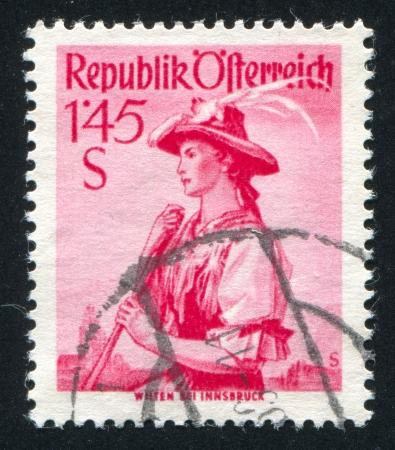 AUSTRIA - CIRCA 1948: stamp printed by Austria, shows Austrian costume in Wilten, circa 1948 Stock Photo - 17837770