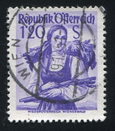 AUSTRIA - CIRCA 1948: stamp printed by Austria, shows Austrian costume in Lower Austria, Vienna Woods, circa 1948 Stock Photo - 17809628