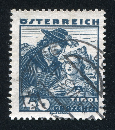 AUSTRIA - CIRCA 1932: stamp printed by Austria, shows Costumes in Tyrol, circa 1932 Stock Photo - 17837786