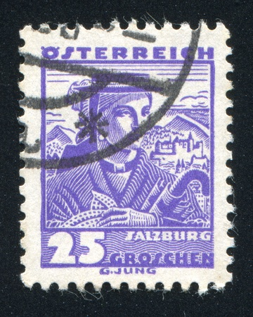 AUSTRIA - CIRCA 1932: stamp printed by Austria, shows Costumes in Salzburg, circa 1932 Stock Photo - 17837866