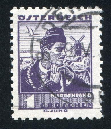 AUSTRIA - CIRCA 1932: stamp printed by Austria, shows Costumes in Burgenland, circa 1932 Stock Photo - 17837804