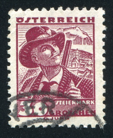 AUSTRIA - CIRCA 1932: stamp printed by Austria, shows Costumes in Styria, circa 1932 Stock Photo - 17837801