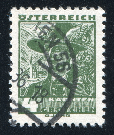 AUSTRIA - CIRCA 1932: stamp printed by Austria, shows Costumes in Carinthia, circa 1932 Stock Photo - 17837845
