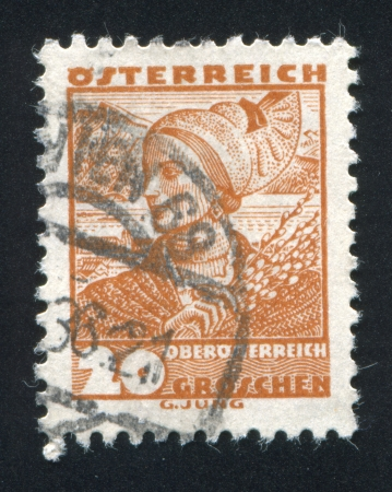 AUSTRIA - CIRCA 1932: stamp printed by Austria, shows Costumes in Upper Austria, circa 1932 Stock Photo - 17837838