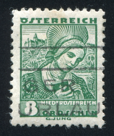 AUSTRIA - CIRCA 1932: stamp printed by Austria, shows Costumes in Lower Austria, circa 1932 Stock Photo - 17837759