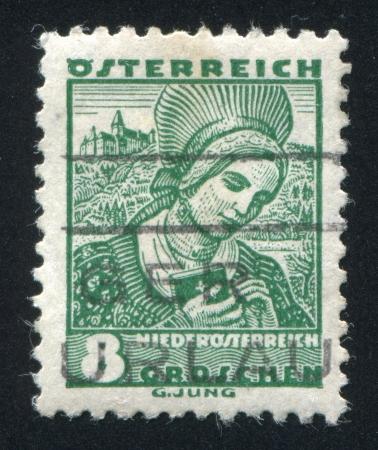 AUSTRIA - CIRCA 1932: stamp printed by Austria, shows Costumes in Lower Austria, circa 1932 Stock Photo - 17837759
