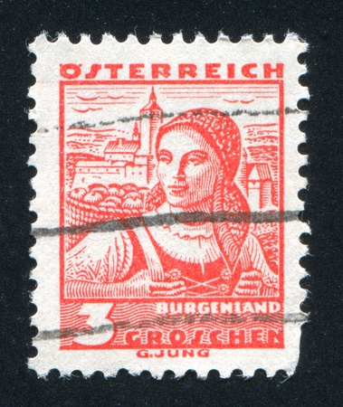 AUSTRIA - CIRCA 1932: stamp printed by Austria, shows Costumes in Burgenland, circa 1932 Stock Photo - 17837949