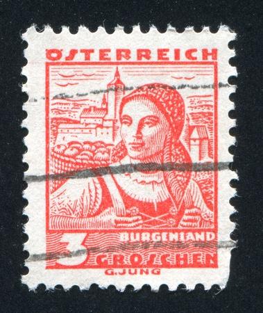 AUSTRIA - CIRCA 1932: stamp printed by Austria, shows Costumes in Burgenland, circa 1932 Stock Photo - 17837949