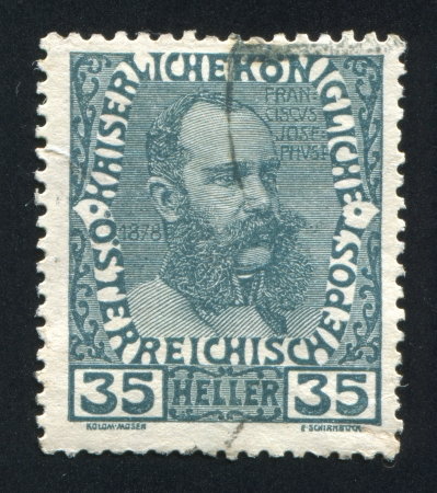 AUSTRIA - CIRCA 1908: stamp printed by Austria, shows Franz Josef in middle age, circa 1908 Stock Photo - 17837774
