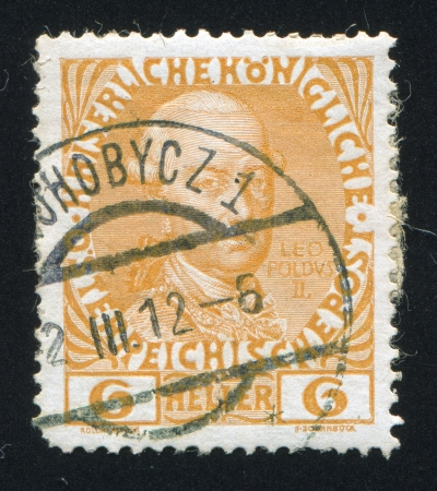 leopold: AUSTRIA - CIRCA 1908: stamp printed by Austria, shows Leopold II, circa 1908