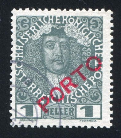 AUSTRIA - CIRCA 1904: stamp printed by Austria, shows Karl VI, circa 1904 Stock Photo - 17837752