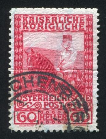 AUSTRIA - CIRCA 1904: stamp printed by Austria, shows Franz Josef on horseback, circa 1904 Stock Photo - 17837818