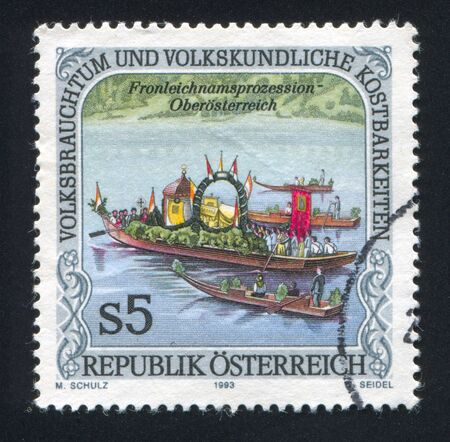 AUSTRIA - CIRCA 1993: stamp printed by Austria, shows Corpus Christi Day Procession, Upper Austria, circa 1993