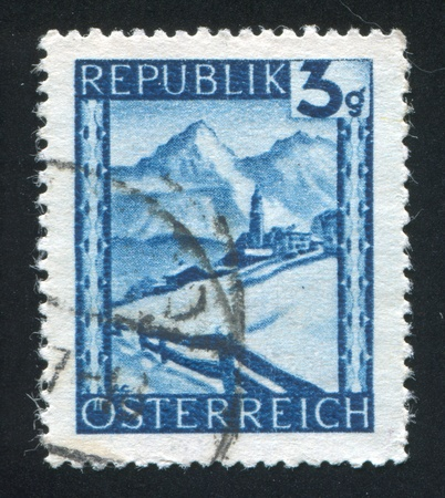 AUSTRIA - CIRCA 1945: stamp printed by Austria, shows Lermoos, Winter Scene, circa 1945 Stock Photo - 17809596