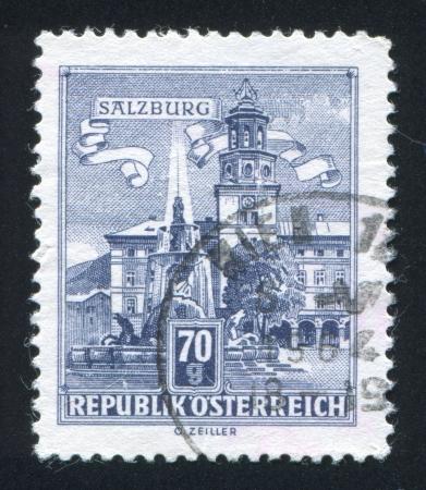 residenz: AUSTRIA - CIRCA 1957: stamp printed by Austria, shows Residenz Fountain, Salzburg, circa 1957 Editorial