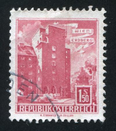 window seal: AUSTRIA - CIRCA 1957: stamp printed by Austria, shows Rabenhof Building, Erdberg, Vienna, circa 1957 Editorial