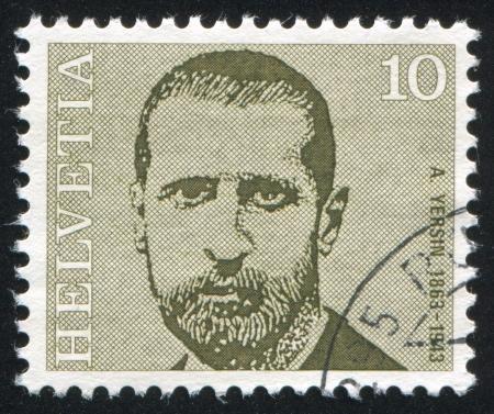 boffin: SWITZERLAND - CIRCA 1971: stamp printed by Switzerland, shows Alexandre Yersin, circa 1971