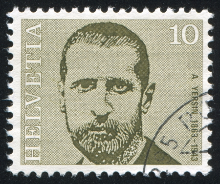 SWITZERLAND - CIRCA 1971: stamp printed by Switzerland, shows Alexandre Yersin, circa 1971