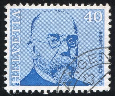 boffin: SWITZERLAND - CIRCA 1971: stamp printed by Switzerland, shows Robert Koch, circa 1971 Editorial