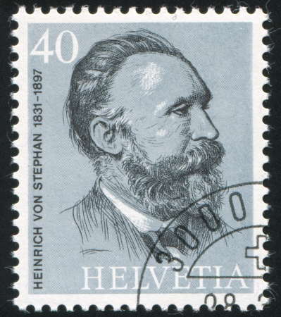postmaster: SWITZERLAND - CIRCA 1974: stamp printed by Switzerland, shows Heinrich von Stephan, circa 1974