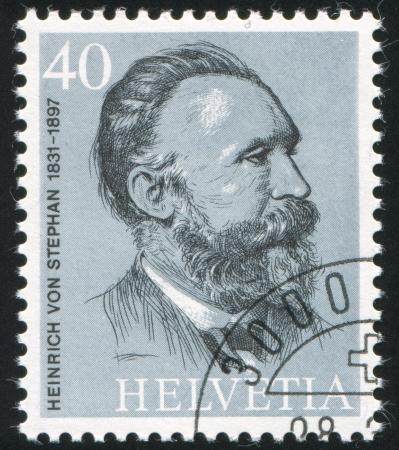 SWITZERLAND - CIRCA 1974: stamp printed by Switzerland, shows Heinrich von Stephan, circa 1974 Stock Photo - 17809658