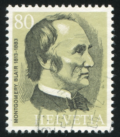 postmaster: SWITZERLAND - CIRCA 1974: stamp printed by Switzerland, shows Montgomery Blair, circa 1974