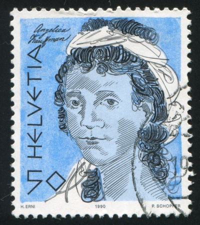 SWITZERLAND - CIRCA 1990: stamp printed by Switzerland, shows Angelika Kaufmann, circa 1990 Stock Photo - 17809679
